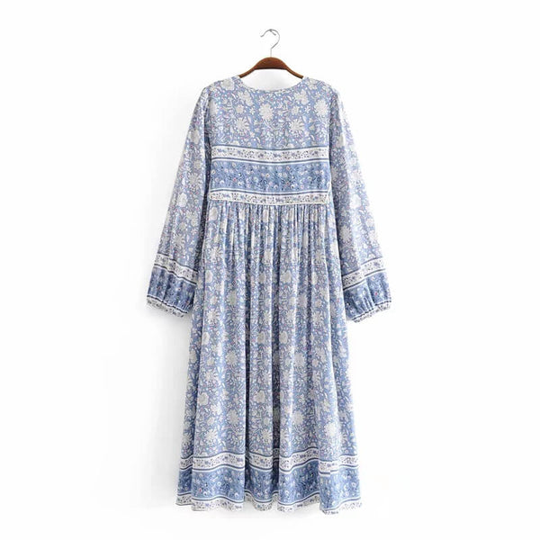 Light Blue Bohemian Tassel Floral Printed Vacation Dresses - Shes Lady