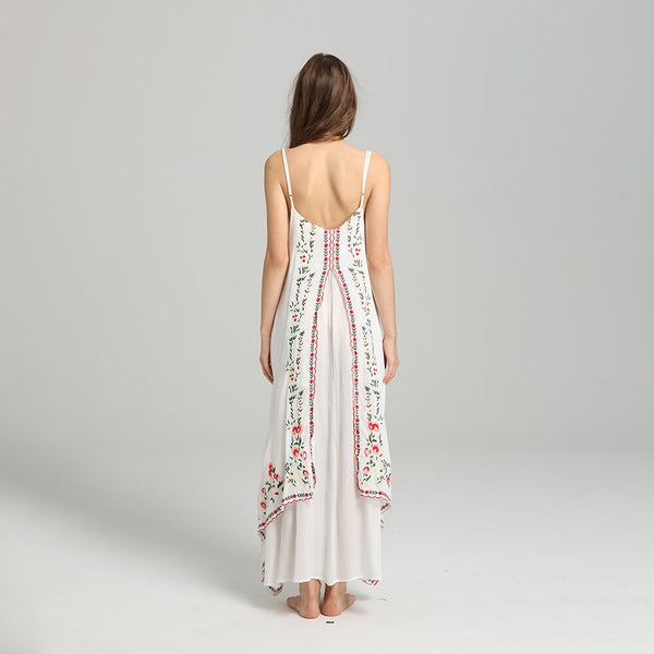 Elegant Floral Embroidery Flowing Long Dress