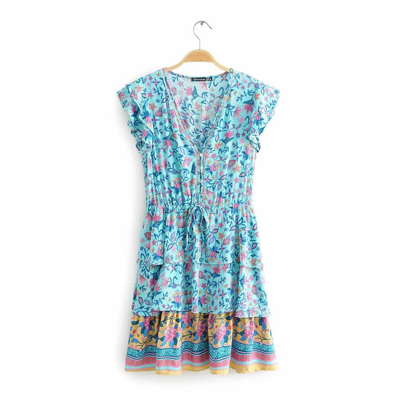 Hippie Floral Printed Flying Sleeve Short Dress - Shes Lady