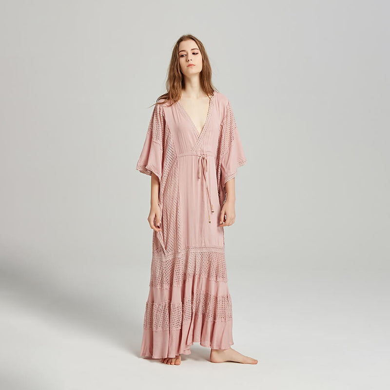 Bohemian Style Batwing Sleeve Vacation Dresses - Shes Lady