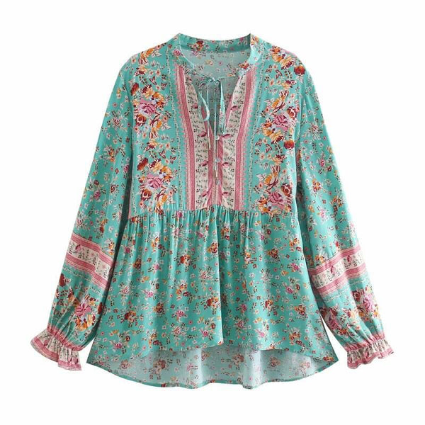 Tie Up Floral Long Sleeve Blouse