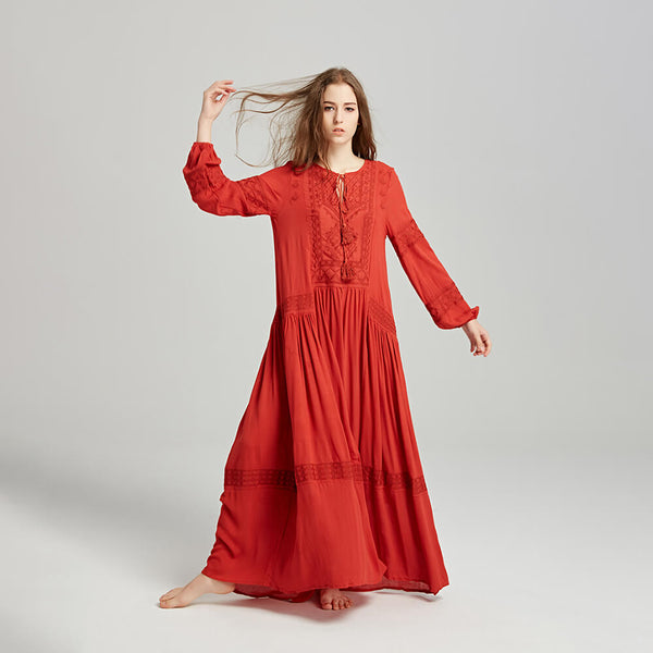 Boho Embroidery Long Sleeve Tassel Maxi Long Dress - Shes Lady
