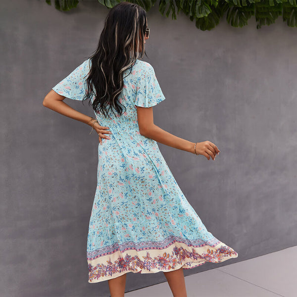 Buttons V Neck Tassel Drawstring Waist Floral Dress