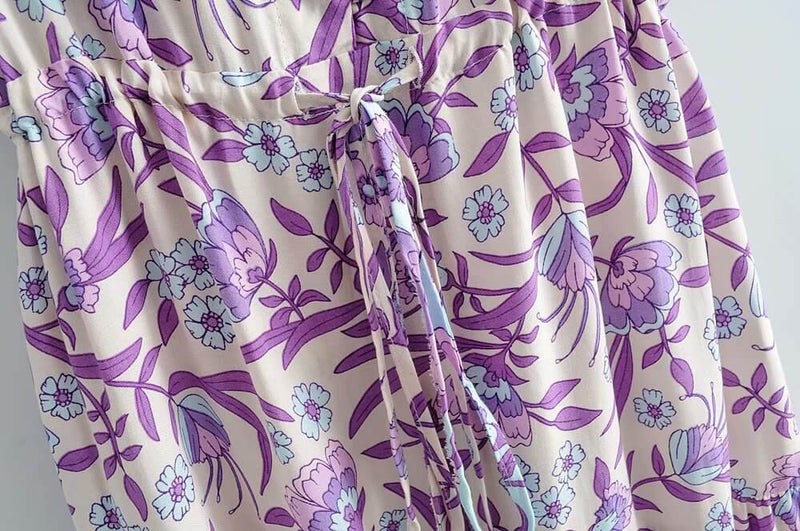 Retro Purple Floral Print Midi Dresses - Shes Lady