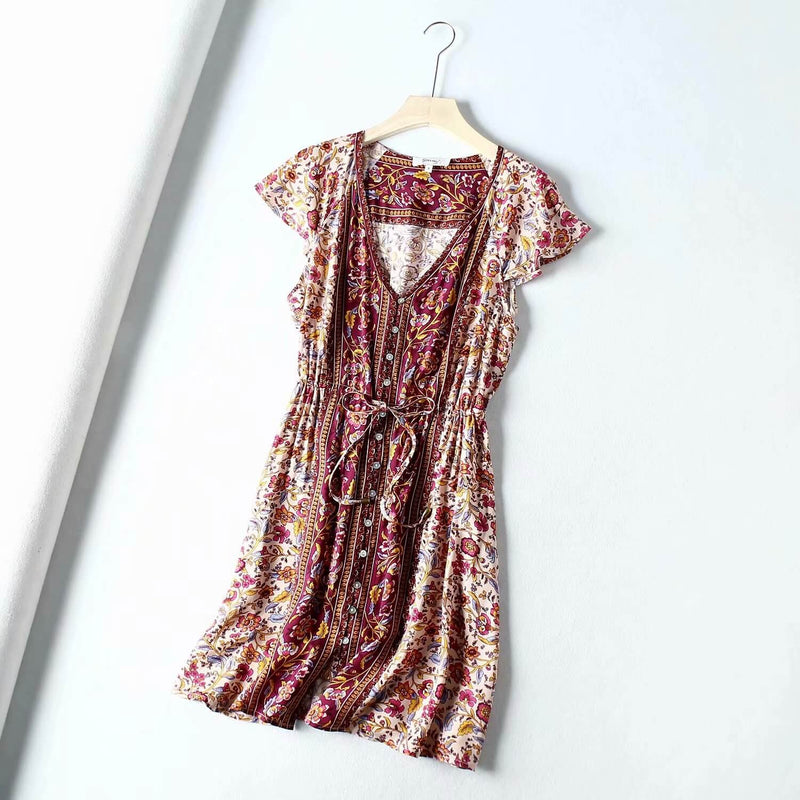 Button Front Drawstring Waist Mini Dress