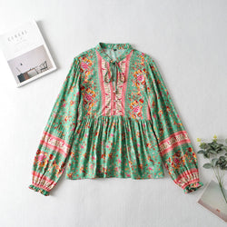 Button Front Floral Long Sleeve Blouse - Green