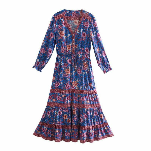 Boho Chic Floral Deep V Neck Long Dress - Blue