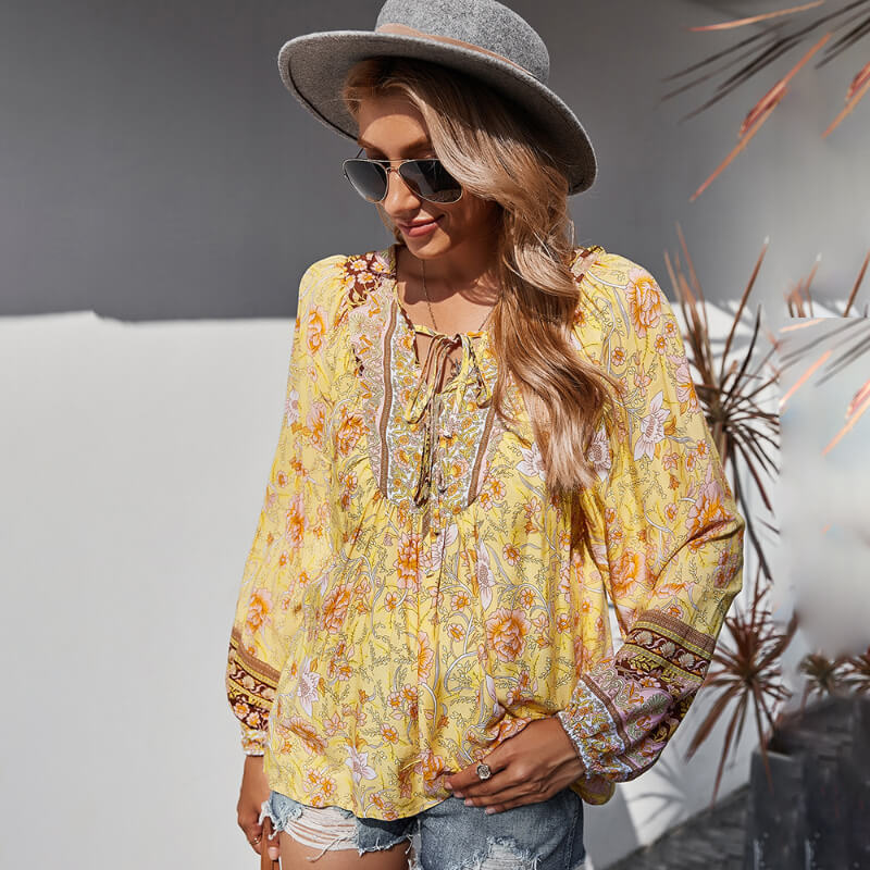 Tie Front V Neck Floral Boho Blouse - Yellow