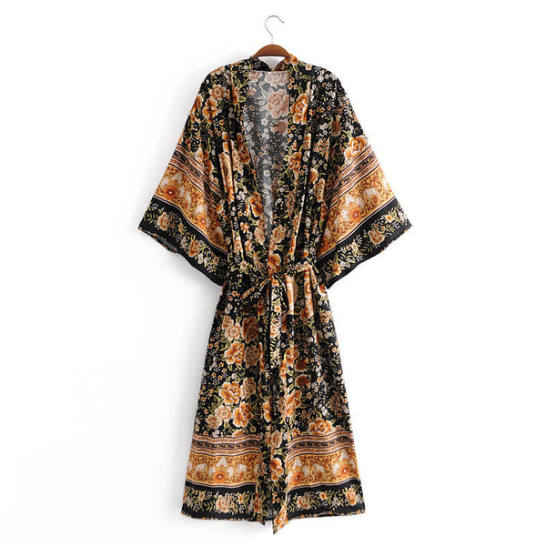 Vintage Floral Print Kimono Sleeve Cover Up