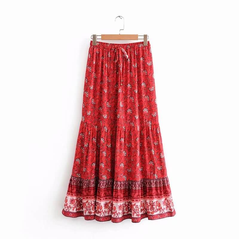 Elegant Elastic Waist Floral Long Skirt Red - Shes Lady