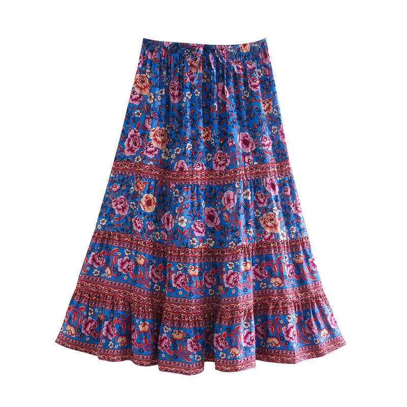Hippie Floral Skirt - Blue