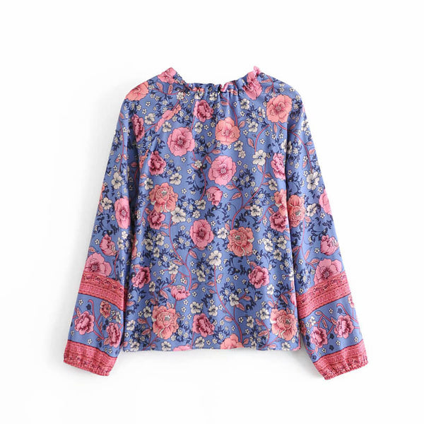 Tie-Up Frill Neck Floral Long Sleeve Blouse - Blue