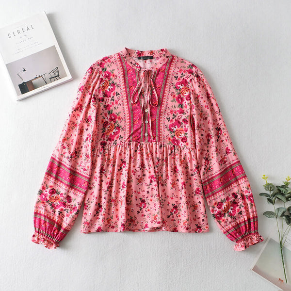 Button Front Floral Long Sleeve Blouse - Red
