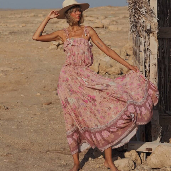 Ruffles Tassel Elegant Floral Strappy Long Dress