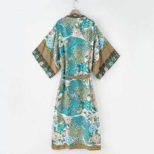 Floral Birds Print Kimono Cardigan Robe with Belt