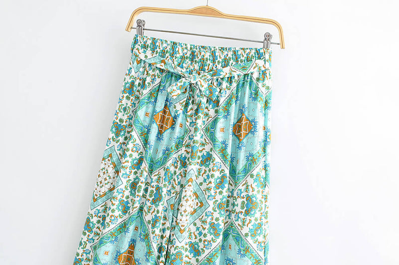 Turquoise Floral Print Crop Top and Wide Leg Pants - Shes Lady