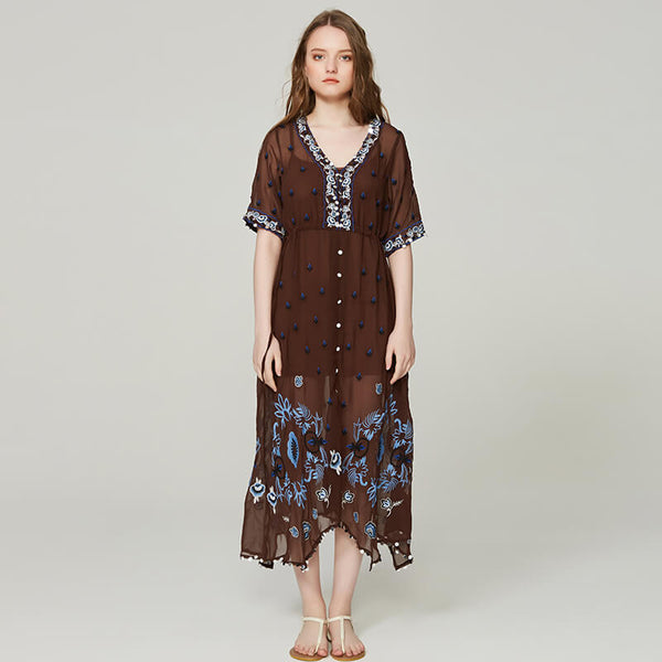 See-Through Embroidery Floral Midi Dresses