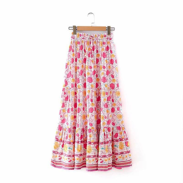 Elastic High Waist Allover Floral Skirt