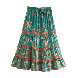 Hippie Floral Skirt - Green