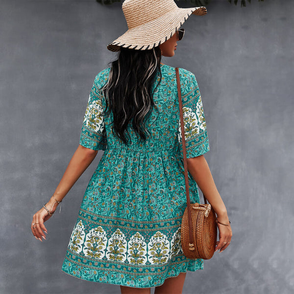 Boho Floral Short Dress with Pockets
