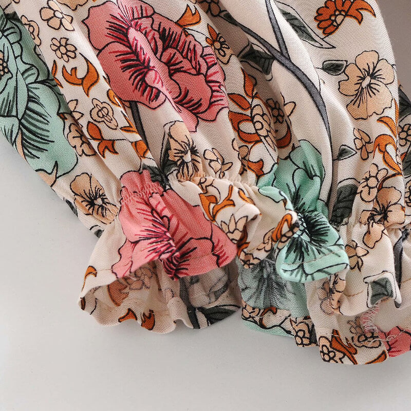 Drawstring Waist Button V Neck Floral Dress
