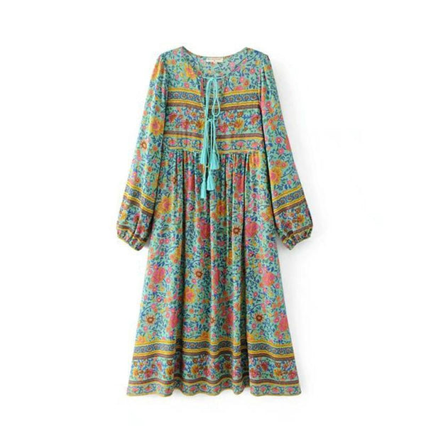 Elegant Bohemian Floral Print Tassel Vacation Dress