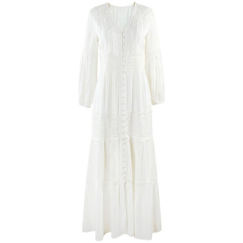 Button Front Hollow Out Floral Lace White Dress