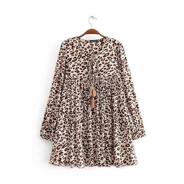 Casual Long Sleeve Cheetah Print Super Short Dress - Shes Lady