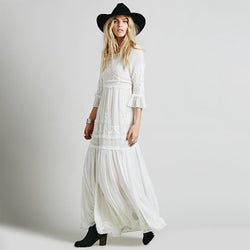 Bohemia Embroidery Cotton Blend Maxi Dresses