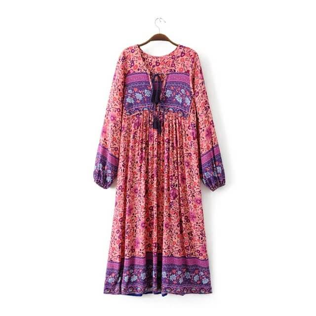 Boho Chic Tassel Floral Long Sleeve Vacation Dress - Shes Lady