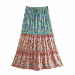 High Waist Floral Long Skirt - Green