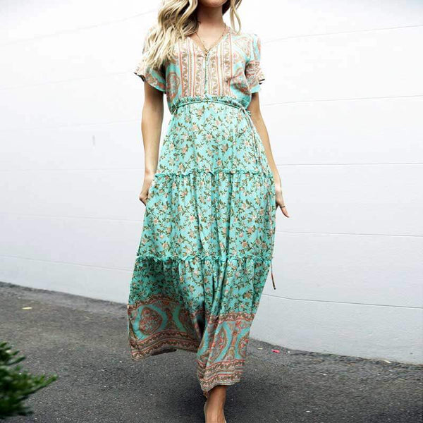 Bohemian Floral Frill Tiered Midi Dress - Shes Lady