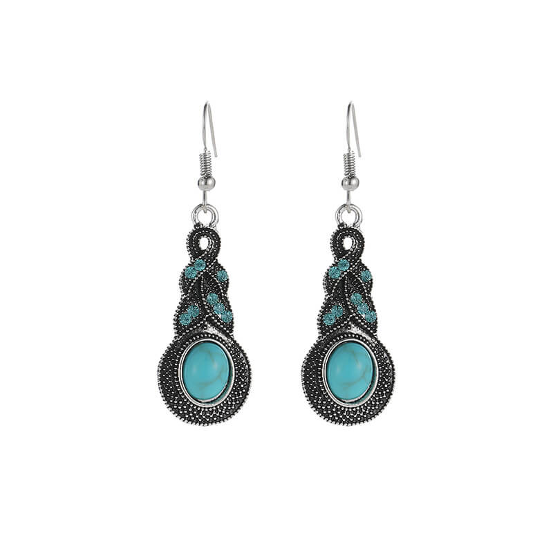 Bohemian Style Alloy Turquoise Dropp Earring - Shes Lady