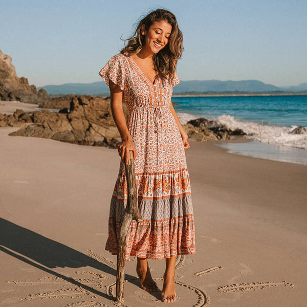 Vacation Beach Floral Midi Dress - Shes Lady