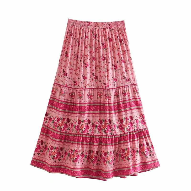 Casual Elastic Floral Skirt - Red