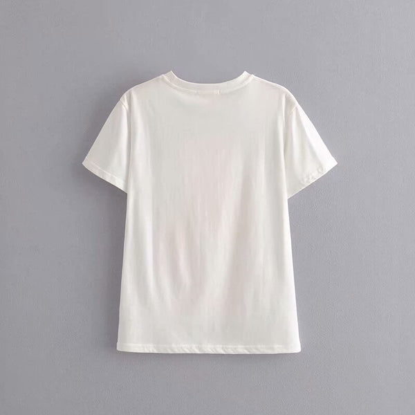 White Casual Print O Neck T-Shirt - Shes Lady