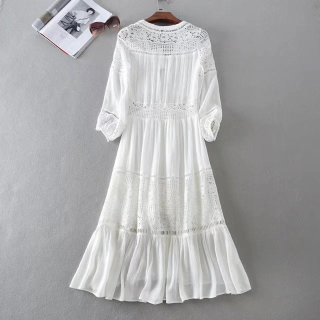 Holiday White Lace Bohemian Gypsy Midi Dresses - Shes Lady