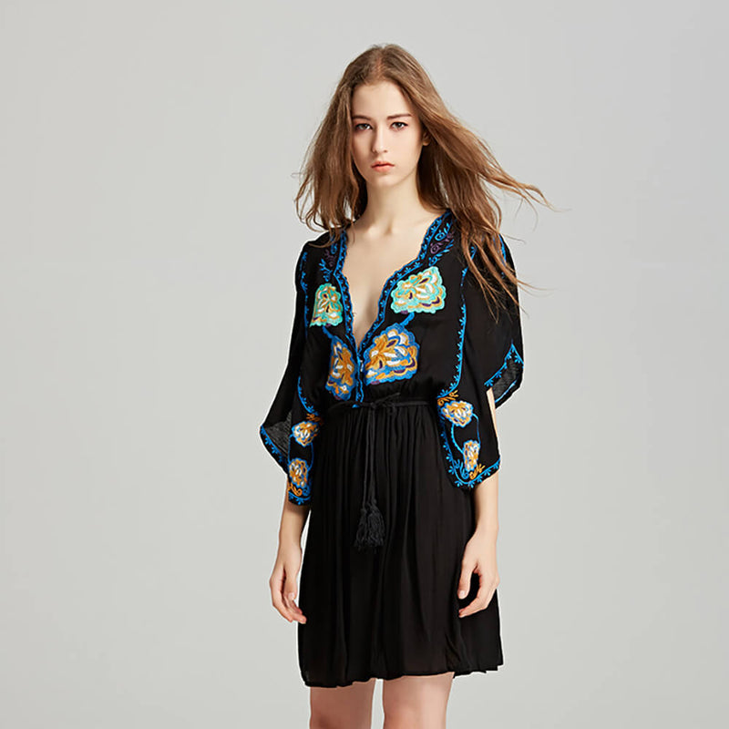 Elegant Embroidery Flower Sexy Deep V Neck Dress