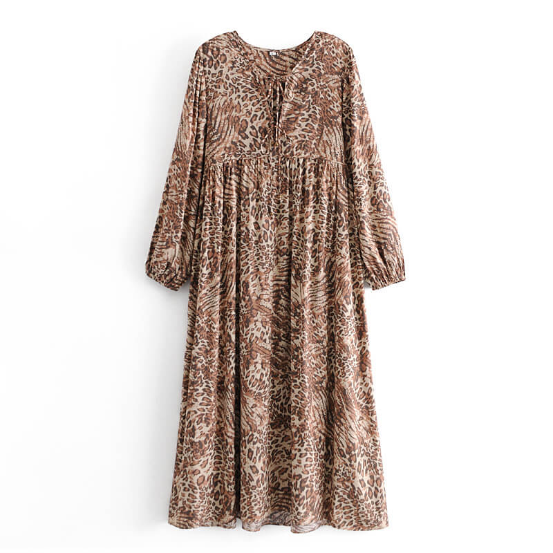 Retro Leopard Print Long Sleeve Midi Dress