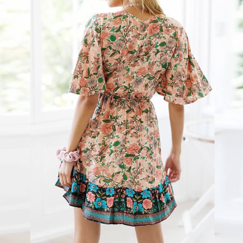Tie Knot Brust Sexy Deep V Neck Floral Mini Dress - Shes Lady