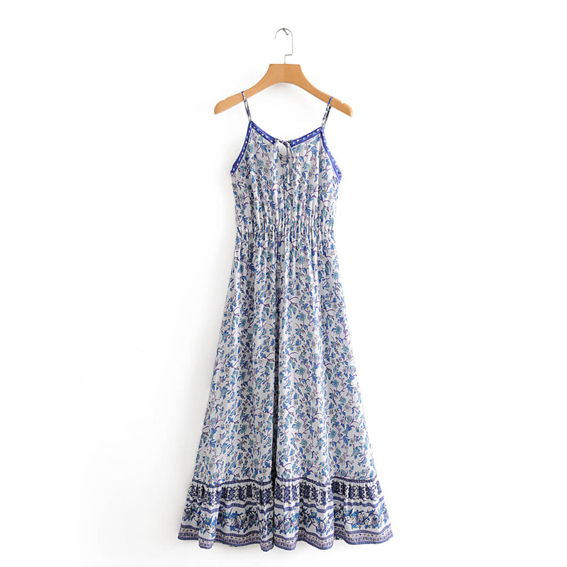 Floral Printed Sexy Strap Long Dress - Shes Lady