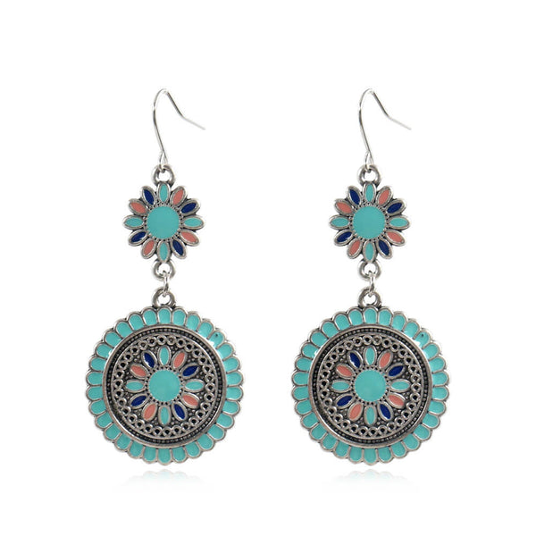 Bohemian Colorful Essential Oils Water Drop Earrings - Shes Lady