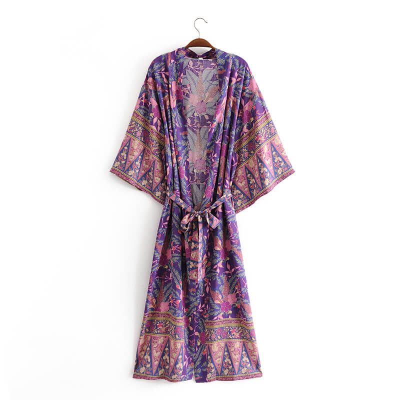 Retro Floral Cardigan Robe with Belt