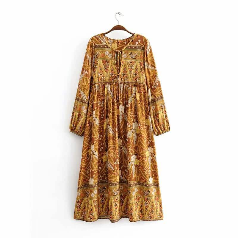 Casual Long Sleeve Straight Retro Floral Midi Dress - Shes Lady