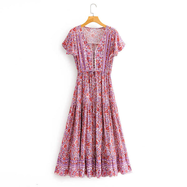 Button Front V Neck High Waist Boho Floral Dress