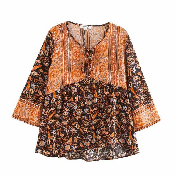 Flare Sleeve Floral Short Blouse