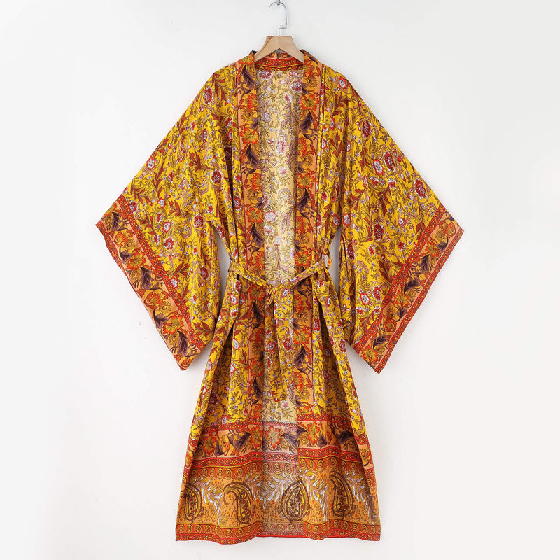 Floral Kimono Sleeve Belted Cardigan Robe