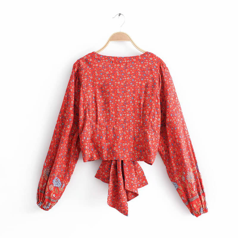 Knot Front Deep V Floral Top - Red