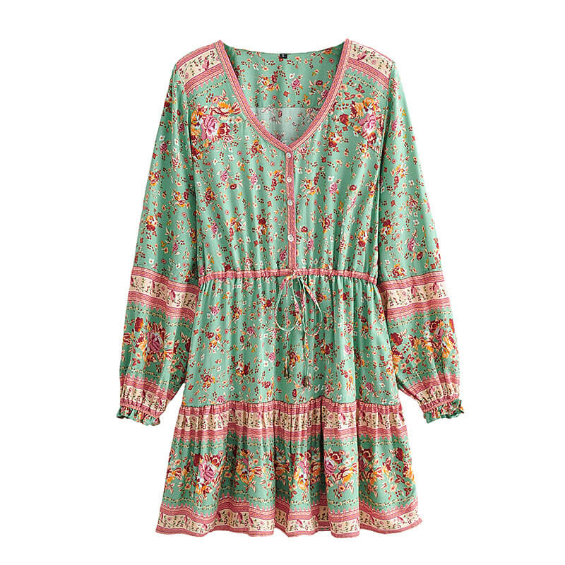 Long Sleeve Floral Mini Dress - Green