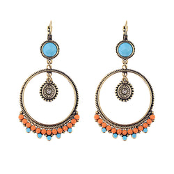 Bohemian Resin Beads Big Round Circle Dangle Drop Earrings